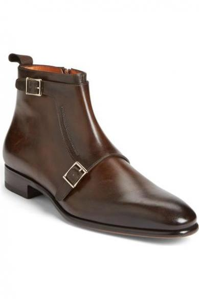 Handmade men brown Genuine leather boots, Men's side zipper ankle boot