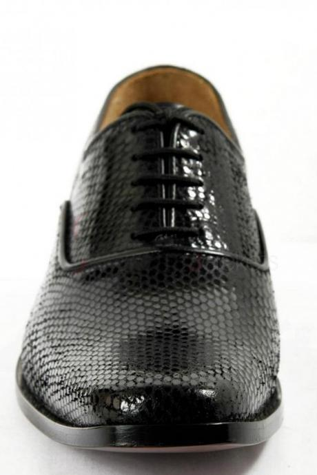 Men Hand Made Dragon Skin Luxury Formal Black Leather Shoes