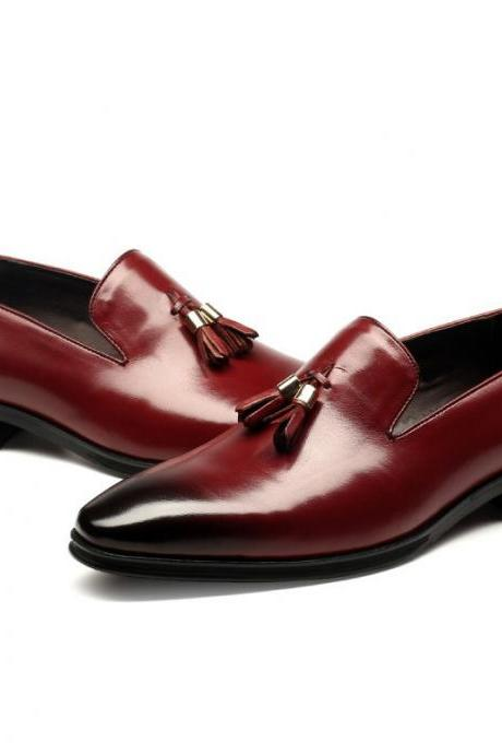 Hand Made Men Maroon Red Tassels Loafer Burnished Toe Real Leather Shoes US 7-16