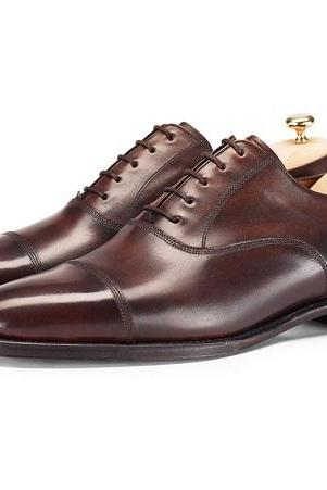 Smooth Russet Brown Cap Toe Oxford Pure Leather Formal Business Shoes For Men