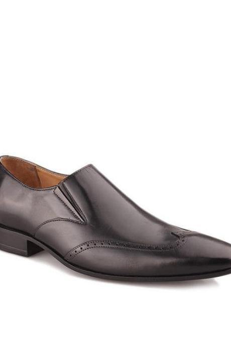Men's Real Leather Dress Shoes With Light Weight And Wingtip Design Made By Hand