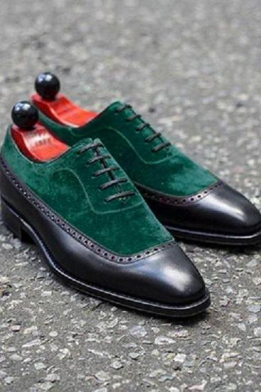Oxford Green Suede Black Genuine Leather Derby Toe Lace Up Handmade Dress Shoes