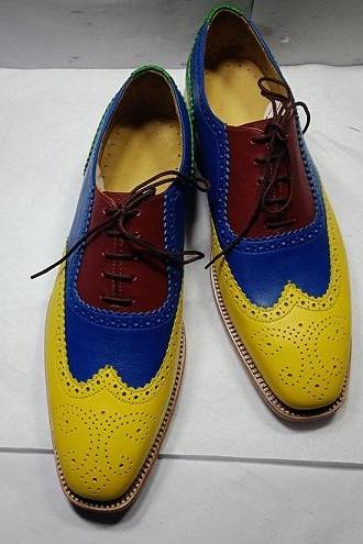 Oxford Multi Color Wingtip Brogue Toe Natural Color Sole Vintage Leather Shoes