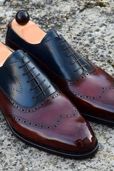 Men Maroon Black Cont Derby Burnished Toe Wing Tip Genuine Leather Shoes US 7-16