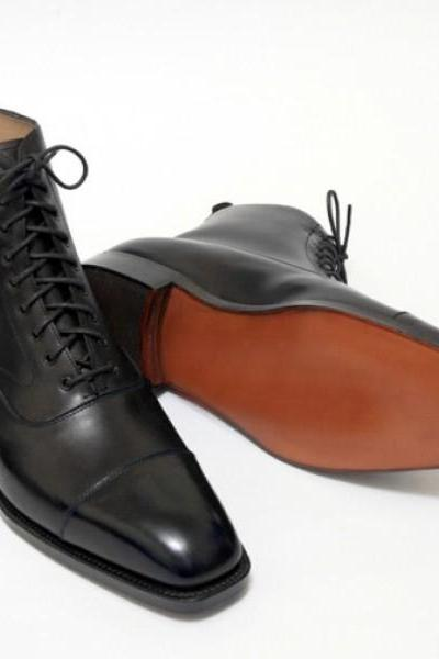 Hand Made Men Black Cap Toe Lace Up Derby Genuine Real Leather Ankle Boot US 7-16