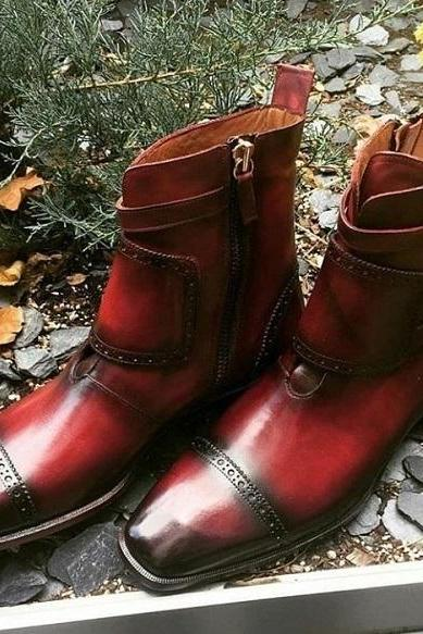 Monks Ankle Boot Men Burgundy Triple Buckle Side Zipper Premium Quality Leather