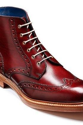 Maroon Red Burnished Toe Wing Tip Leather Natural Color Sole Ankle Boots US 7-16