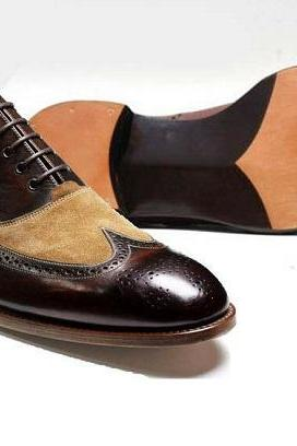Two Tone Beige Suede Coffee Brown Wing Tip Brogue Toe Real Leather Shoes US 7-16
