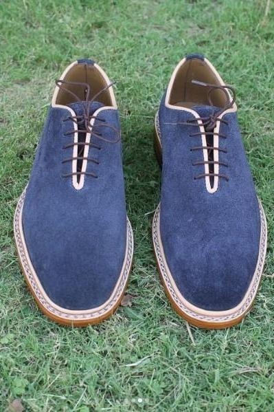 Navy Blue Colour Suede Leather Derby Toe Natural Colour Sole Handmade Lace up Shoes