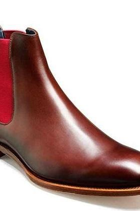 Men's Maroon Red Chelsea Jumper Slip On Leather Natural Colour Sole Boots US 7-16