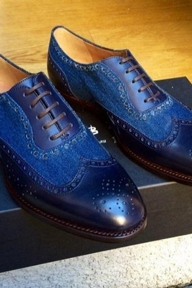 Oxford Shoes Men's Blue Colour Full Brogue Suede Leather Premium Quality Handmade