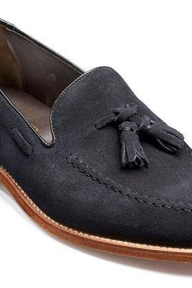 Navy Blue Tassel Loafer Slip On Suede Leather Natural Colour Sole Shoes US 7-16