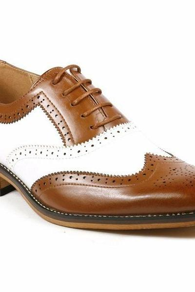 Oxford Brown White Brogue Toe Wingtip Natural Coluor Sole Leather Shoes US 7-16