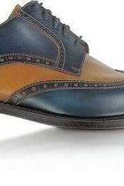 Men's Two Colours Plain Toe Oxford Brogues Wing Tip Genuine Leather Shoes US 7-16