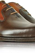 Men Handmade Two Colour Brogues Toe Oxford Genuine Leather Shoes