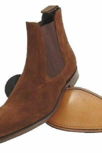 New Handmade Men's Chelsea Suede Leather Boot, High Ankle Boots, Leather Boots