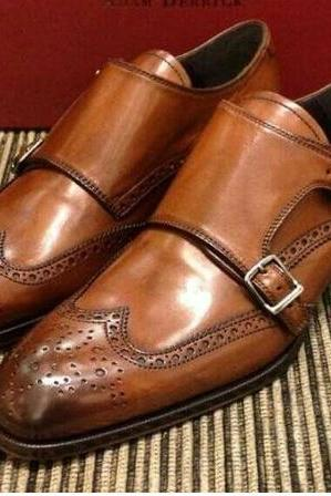 Handmade Men Tan colour double monk formal shoes, Men Monk shoes, Men dress shoes