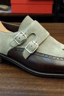 Monk Gray Brown Burnished Toe Double Buckle Straps Genuine Leather Men Shoes