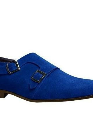 New Men's Handmade Royal Blue Suede Double Monk Strap Dress Fashion Shoes