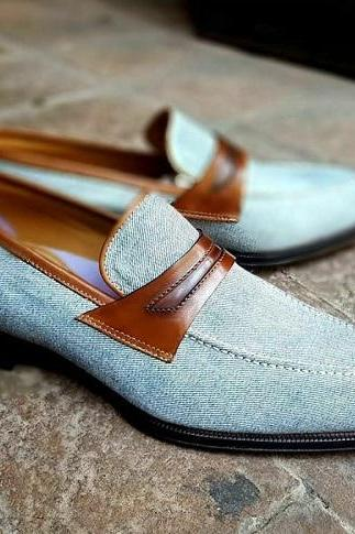 Handmade Men Denim Slip on Moccasin Shoes, Men Casual Slip on Shoes