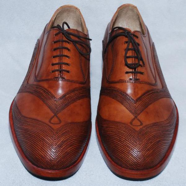 New Handmade Crafted Men Brown Wing Tip Linings Lace up Oxford Genuine Pure Leather Shoes