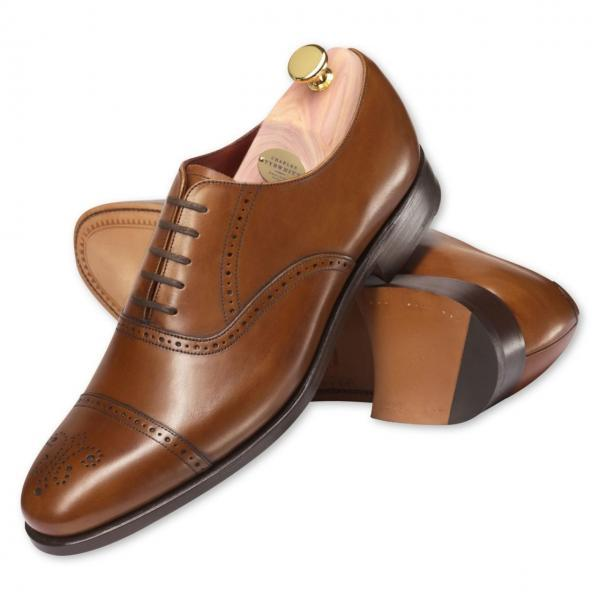 Hand Stitched Brown Men Brogue Cap Lace up Oxford Genuine Pure Leather Shoes