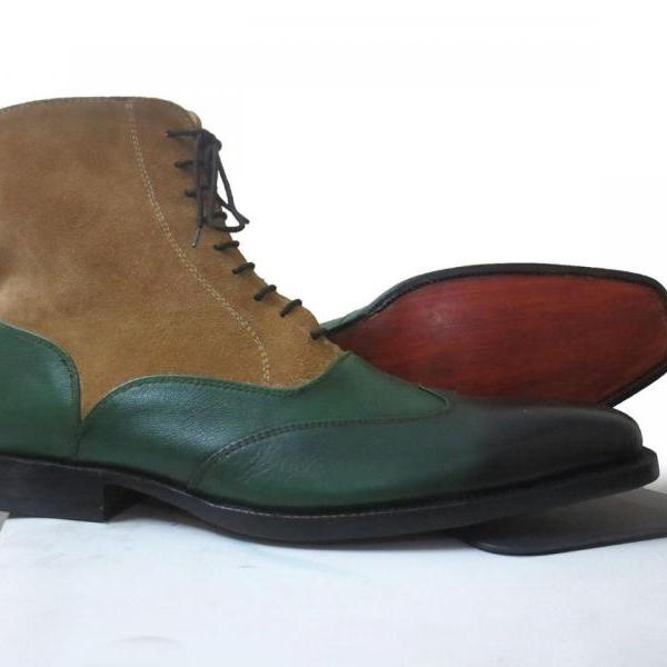 New Handmade Men's Genuine Leather Boots Lace Up Wing Tip Boot, Green Color Boot