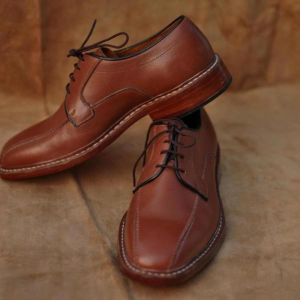 New Men Brown Bicycle Style Black Laces Derby Sided Lining Genuine Leather Shoes