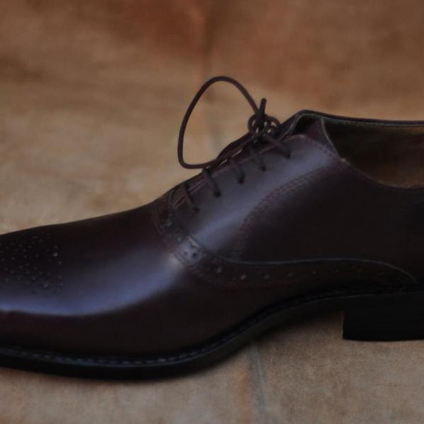 Men Black Pointed Toe Plain Tip Lace up Oxford Genuine Real leather Shoes