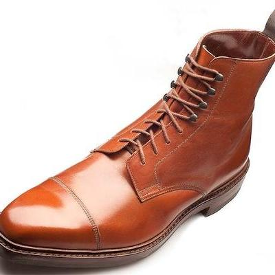 Customized Men Brown Cap Toe Ankle High Laceup Derby Genuine Real Leather Boots