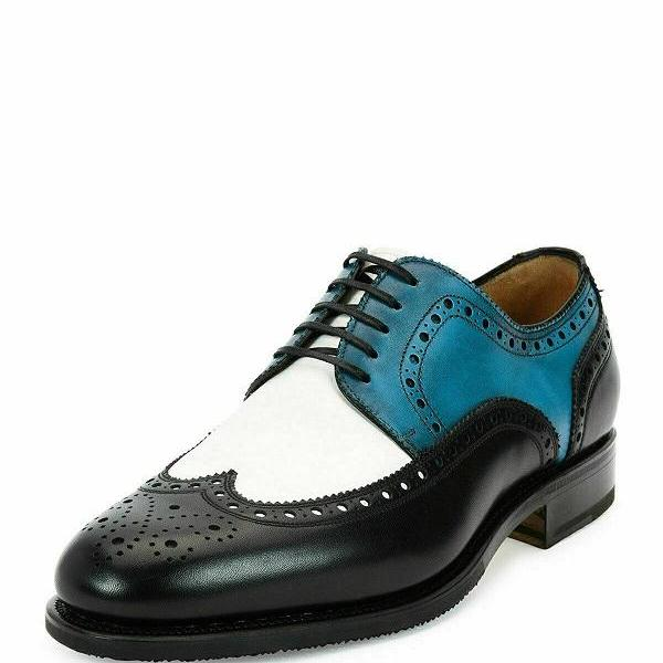 Three Tone White Blue Black Handmade Men Wingtip Party Wear Leather Shoes