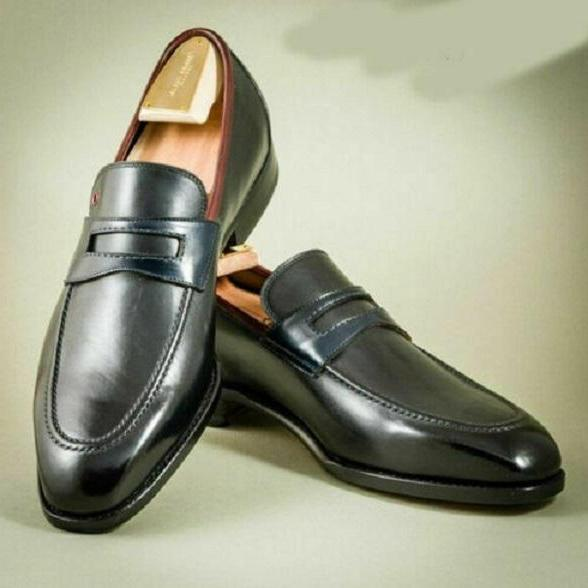 Handmade black loafer shoes, leather shoes for men, men dress moccasin shoes