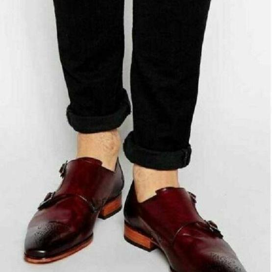 Handmade Men burgundy color monk strap shoes, Men formal shoes, Men dress shoes
