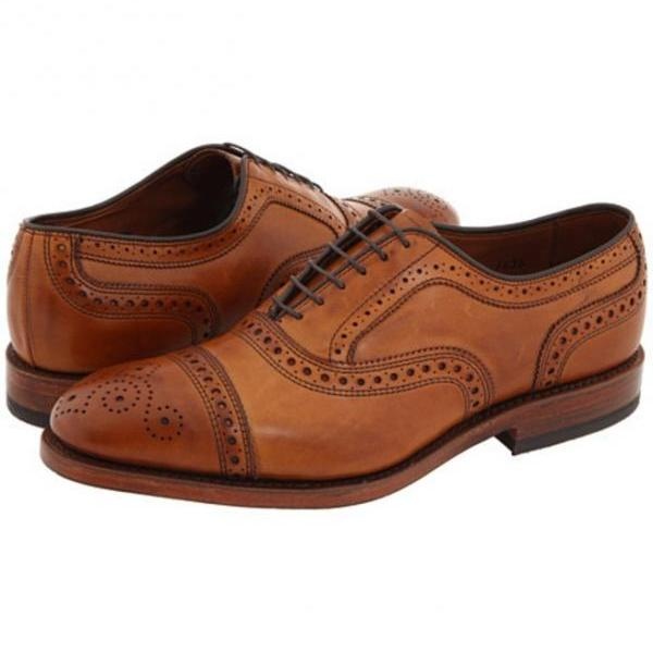 Handmade Oxford Brogue Style Shoes, Men Leather Shoes, Tan Leather Shoe