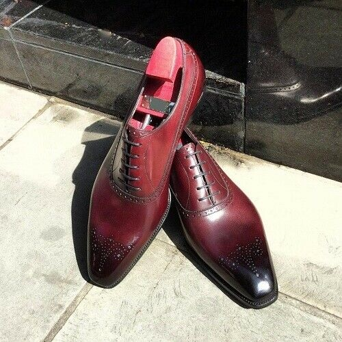 Handmade Men Burgundy colour Brogue Leather dress shoes, Men leather formal shoes