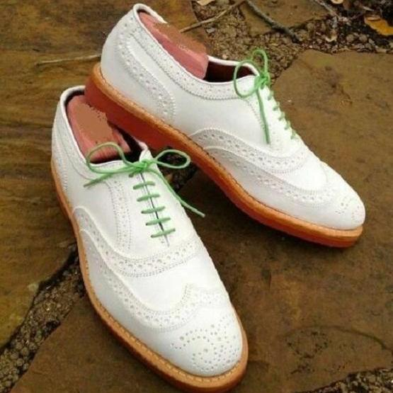 Handmade Men's Oxford White Leather With Brogue Toe Dress Formal Shoes