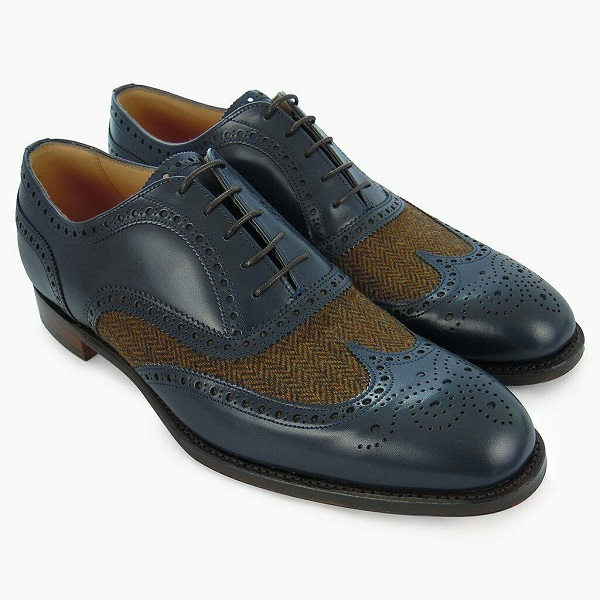 Men's Navy Blue Brogue Toe Tan Tweed Wingtip Handcrafted Genuine Leather Shoes