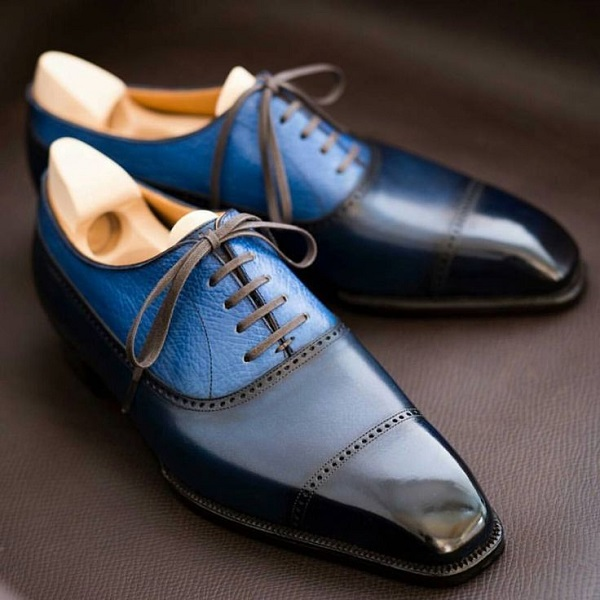 Men's Handmade Black & Blue Pebbled Cap Toe Oxford Leather Formal Dress Shoes