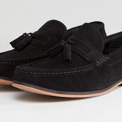 Men's Handmade Stylish Black Penny Suede Tassel Loafer Shoes, Men Slip On Shoes